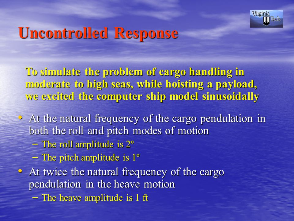 Uncontrolled Response At the natural frequency of the cargo pendulation in both the roll and pitch modes of motion At the natural frequency of the cargo pendulation in both the roll and pitch modes of motion – The roll amplitude is 2º – The pitch amplitude is 1º At twice the natural frequency of the cargo pendulation in the heave motion At twice the natural frequency of the cargo pendulation in the heave motion – The heave amplitude is 1 ft To simulate the problem of cargo handling in moderate to high seas, while hoisting a payload, we excited the computer ship model sinusoidally
