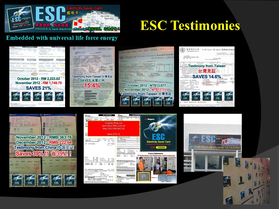 Embedded with universal life force energy ESC Testimonies