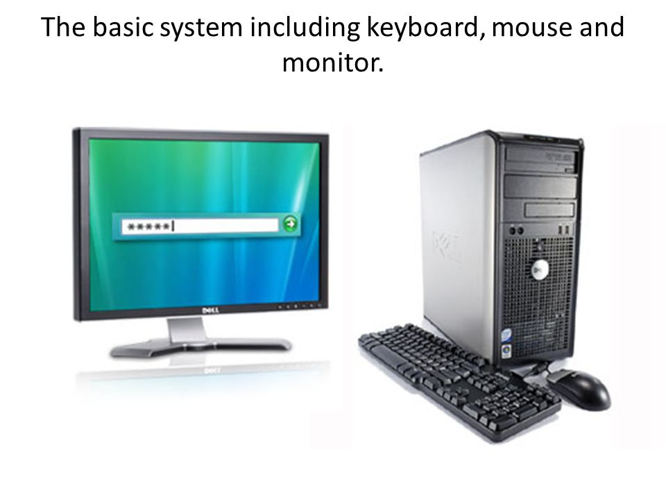 The basic system including keyboard, mouse and monitor.