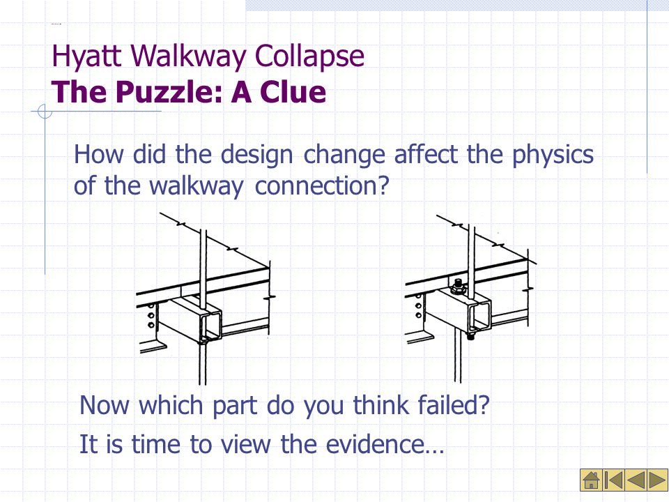 The Puzzle: A Clue How did the design change affect the physics of the walkway connection.