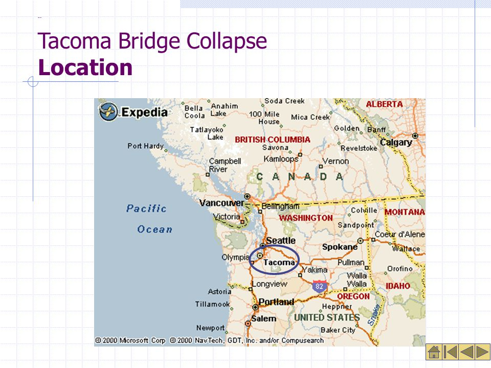 Location Tacoma Bridge Collapse Location