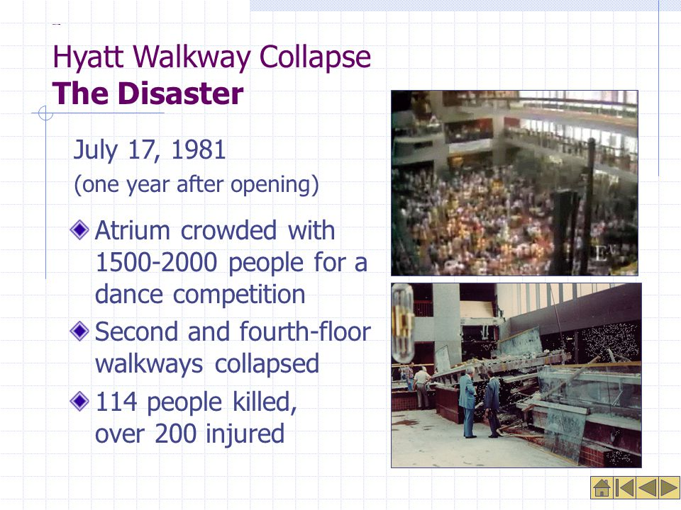 The Disaster Atrium crowded with 1500-2000 people for a dance competition Second and fourth-floor walkways collapsed 114 people killed, over 200 injured July 17, 1981 (one year after opening) Hyatt Walkway Collapse The Disaster