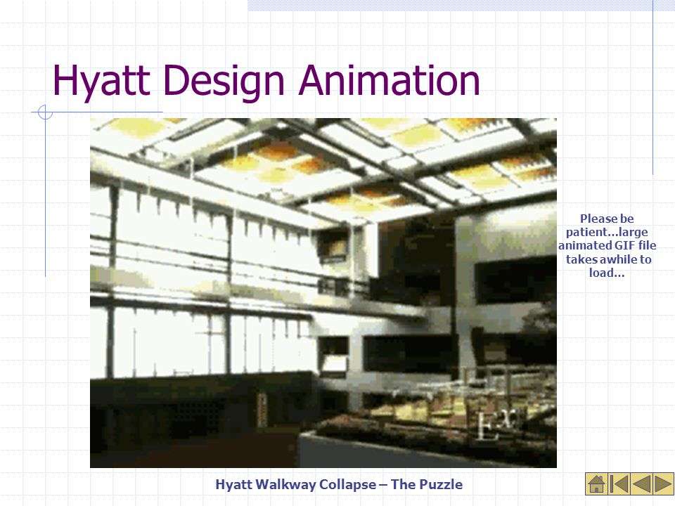 Design Improvements Add more hanger rods and box beams Use larger washers Install bearing plates to move load to sides of box beams Flip box beams back-to-back and use web stiffeners Hyatt atrium now has one walkway supported by floor columns Hyatt Walkway Collapse Design Improvements