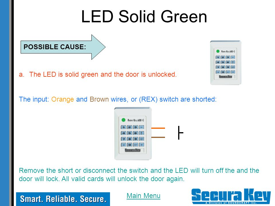 LED Solid Green a.The LED is solid green and the door is unlocked.