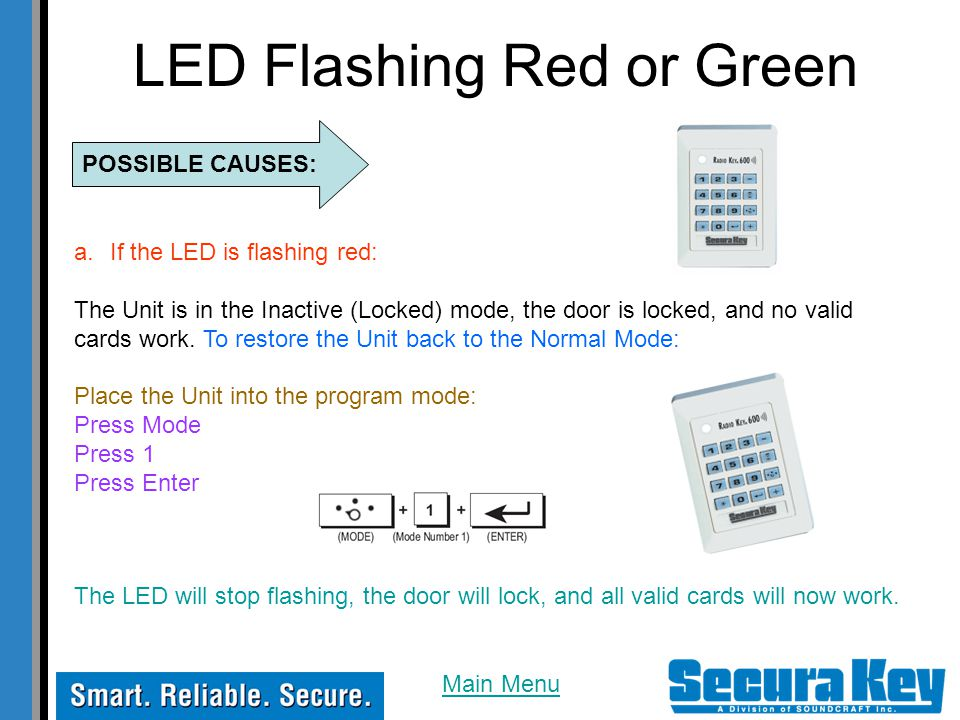 LED Flashing Red or Green POSSIBLE CAUSES: a.If the LED is flashing red: The Unit is in the Inactive (Locked) mode, the door is locked, and no valid c