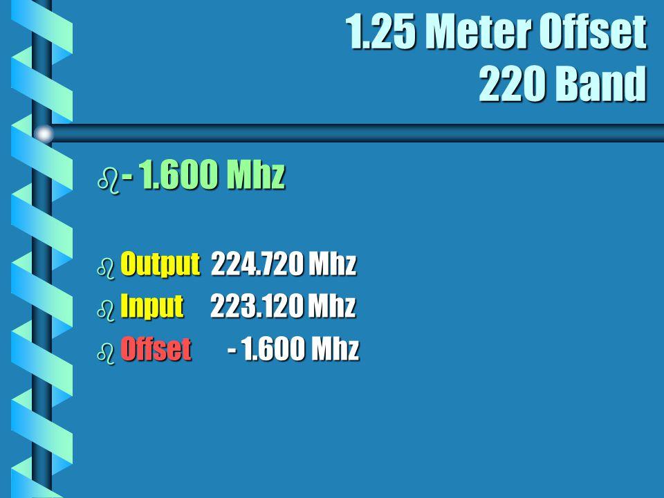 1.25 Meter Offset 220 Band b - 1.600 Mhz b Output 224.720 Mhz b Input 223.120 Mhz b Offset - 1.600 Mhz