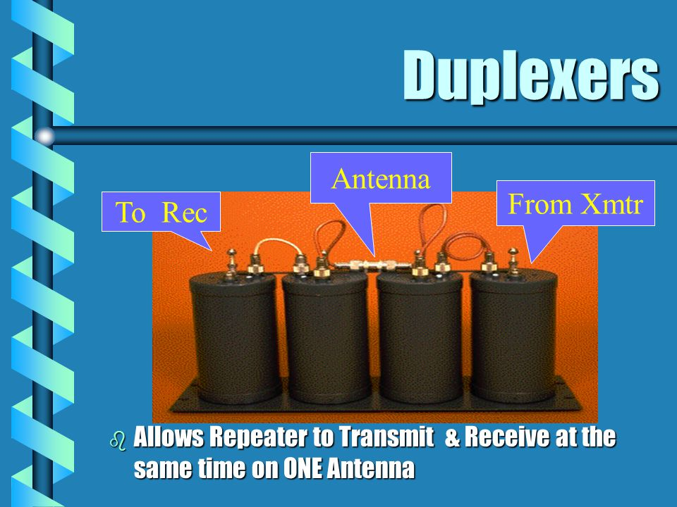 Duplexers b Allows Repeater to Transmit & Receive at the same time on ONE Antenna To Rec From Xmtr Antenna