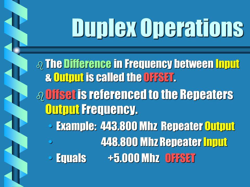 10 Meter Offset b -100 Khz b Output 29.620 Mhz b Input 29.520 Mhz b Offset -.100 Khz Must be GENERAL Class or Above!Must be GENERAL Class or Above!