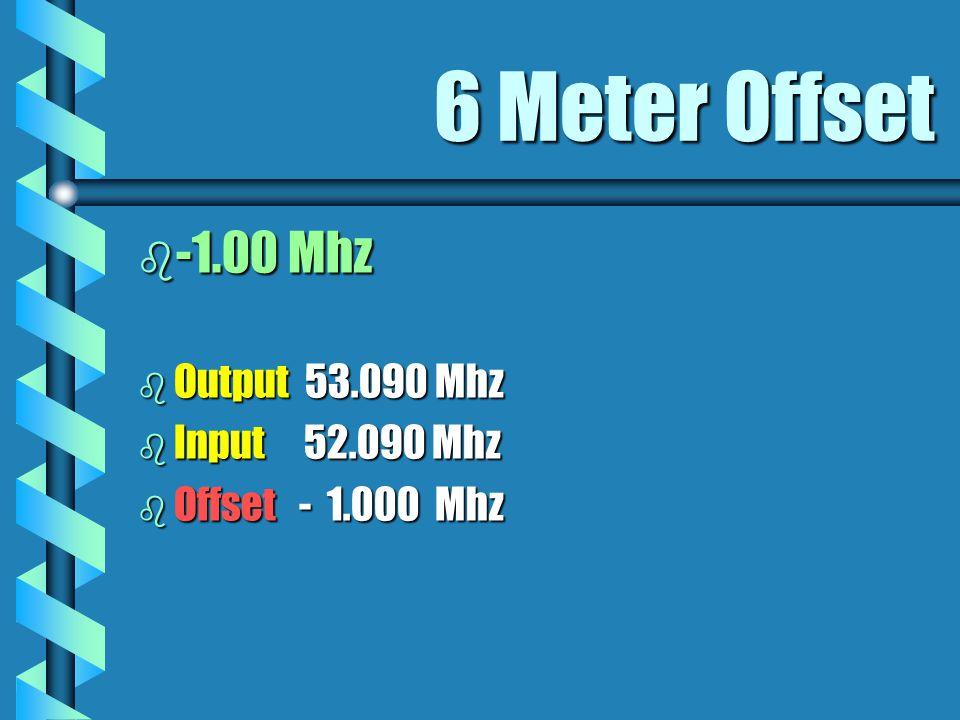2 Meter Offset b - OR +.600 Khz Depends on OutputDepends on Output b Output 146.805 Mhz 147.030 Mhz b Input 146.205 Mhz 147.630 Mhz b Offset -.600 Khz +.600 Khz
