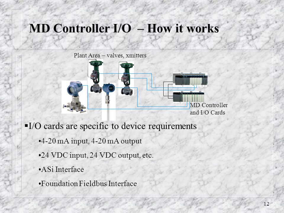 12 MD Controller I/O – How it works MD Controller and I/O Cards Plant Area – valves, xmitters I/O cards are specific to device requirements 4-20 mA input, 4-20 mA output 24 VDC input, 24 VDC output, etc.