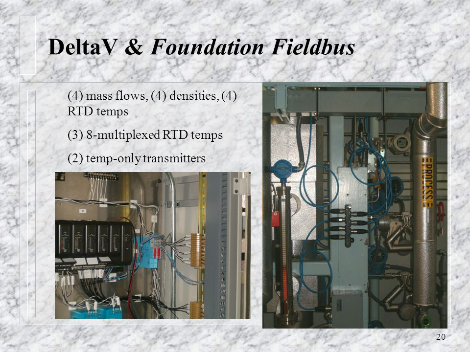 20 DeltaV & Foundation Fieldbus (4) mass flows, (4) densities, (4) RTD temps (3) 8-multiplexed RTD temps (2) temp-only transmitters