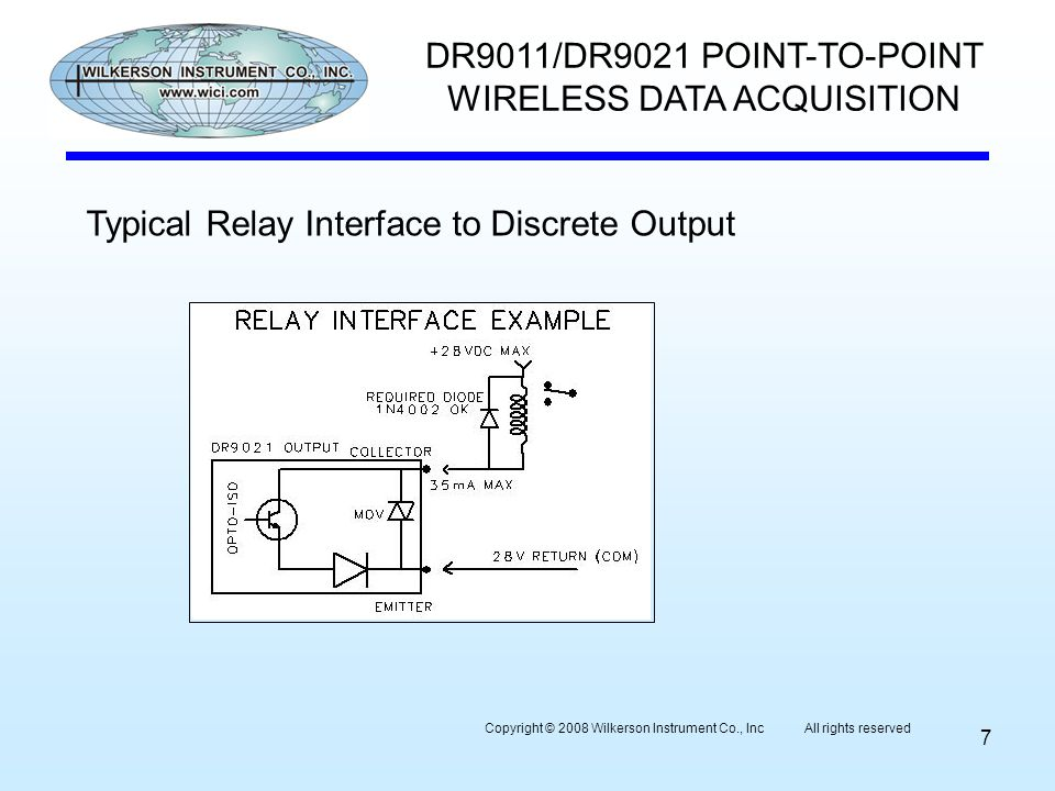 7 DR9011/DR9021 POINT-TO-POINT WIRELESS DATA ACQUISITION Typical Relay Interface to Discrete Output Copyright © 2008 Wilkerson Instrument Co., Inc All