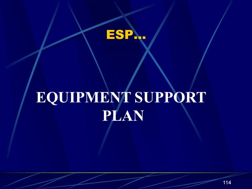 114 ESP… EQUIPMENT SUPPORT PLAN