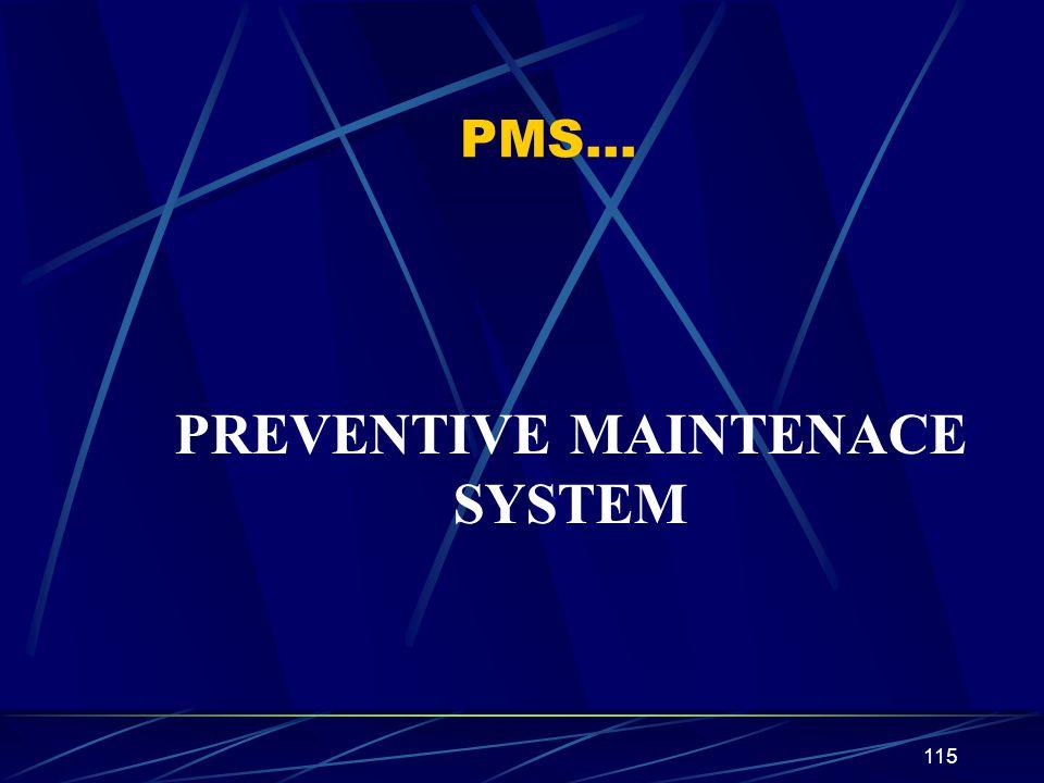 115 PMS… PREVENTIVE MAINTENACE SYSTEM