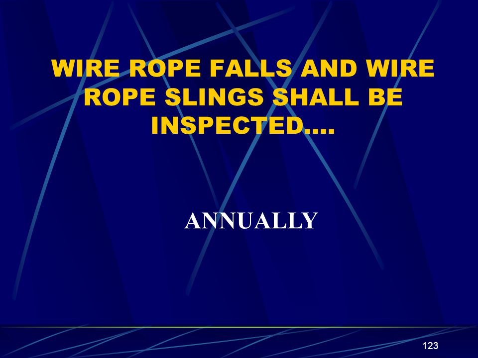 123 WIRE ROPE FALLS AND WIRE ROPE SLINGS SHALL BE INSPECTED…. ANNUALLY