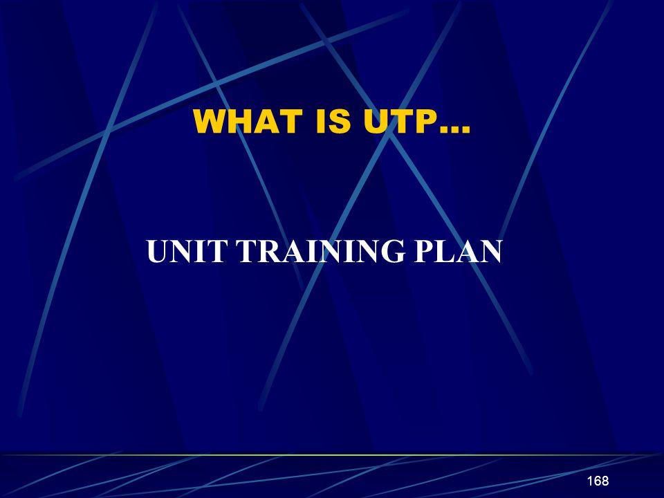 168 WHAT IS UTP… UNIT TRAINING PLAN