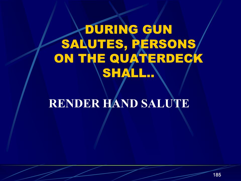 185 DURING GUN SALUTES, PERSONS ON THE QUATERDECK SHALL.. RENDER HAND SALUTE
