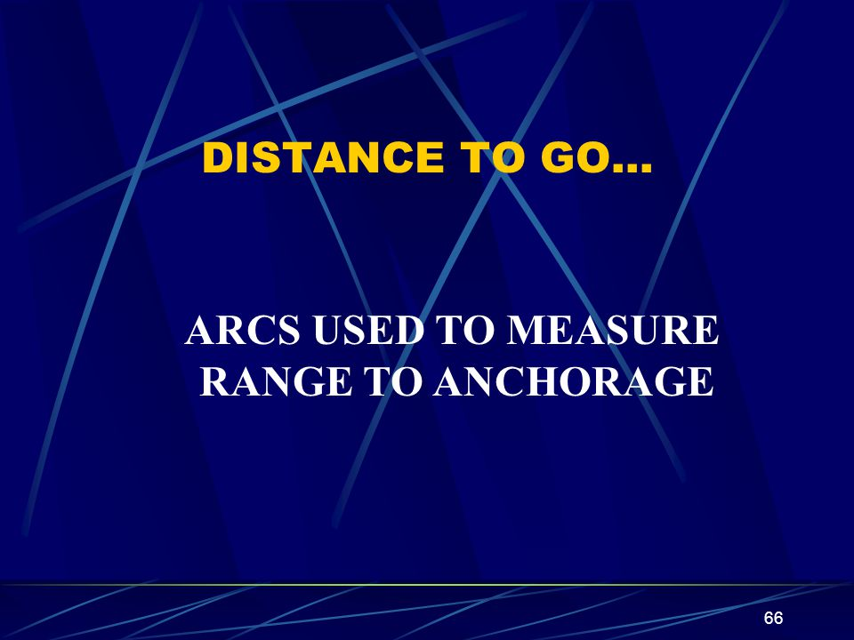 66 DISTANCE TO GO… ARCS USED TO MEASURE RANGE TO ANCHORAGE