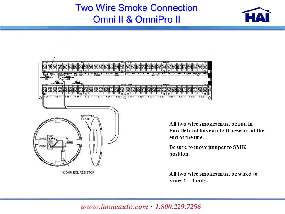 Two Wire Smoke Connection Omni II & OmniPro II All two wire smokes must be run in Parallel and have an EOL resistor at the end of the line. Be sure to