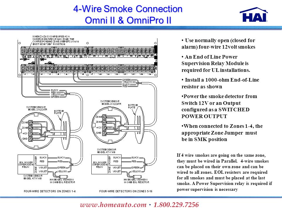 4-Wire Smoke Connection Omni II & OmniPro II If 4 wire smokes are going on the same zone, they must be wired in Parallel. 4-wire smokes can be placed