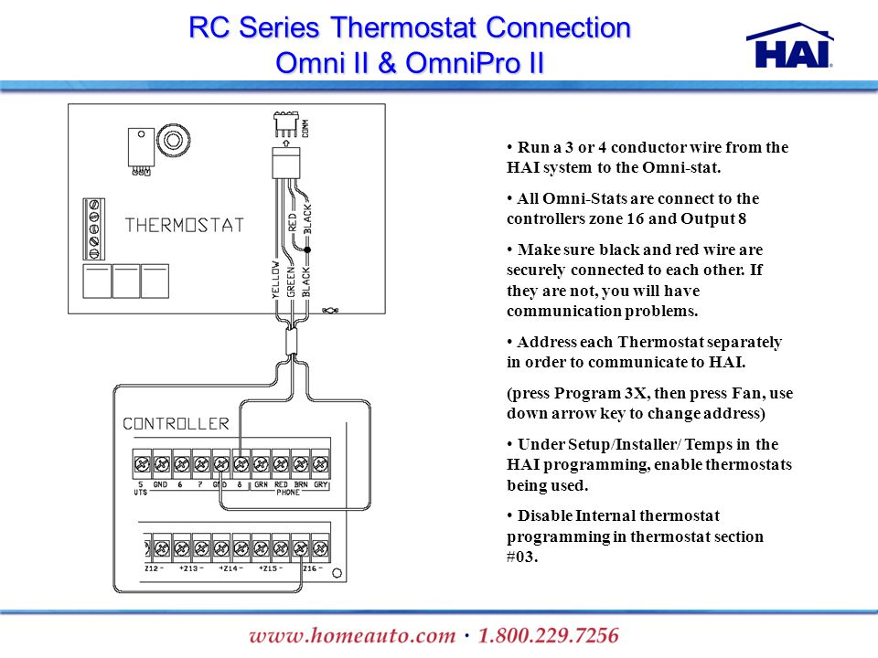 RC Series Thermostat Connection Omni II & OmniPro II Run a 3 or 4 conductor wire from the HAI system to the Omni-stat. All Omni-Stats are connect to t