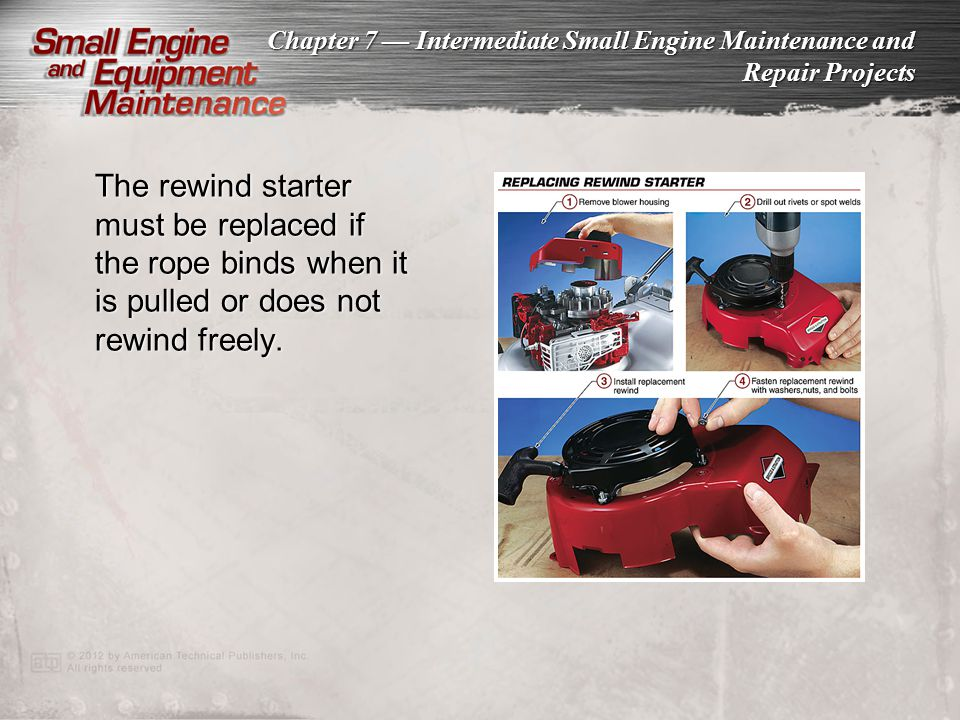 Chapter 7 Intermediate Small Engine Maintenance and Repair Projects The rewind starter must be replaced if the rope binds when it is pulled or does no