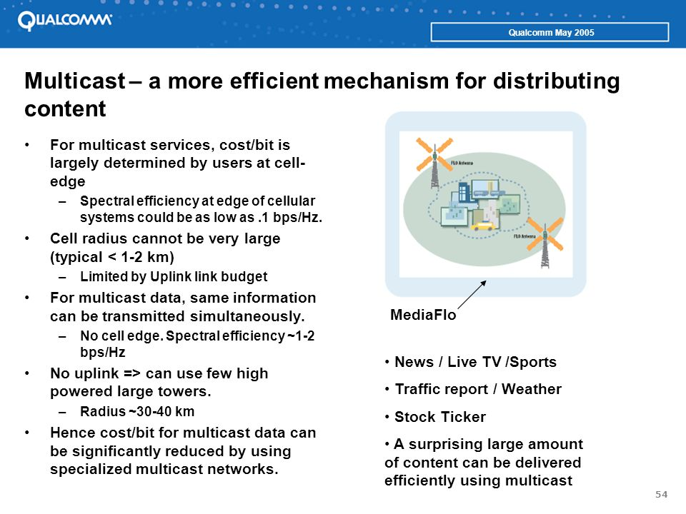 54 Qualcomm May 2005 Multicast – a more efficient mechanism for distributing content For multicast services, cost/bit is largely determined by users a