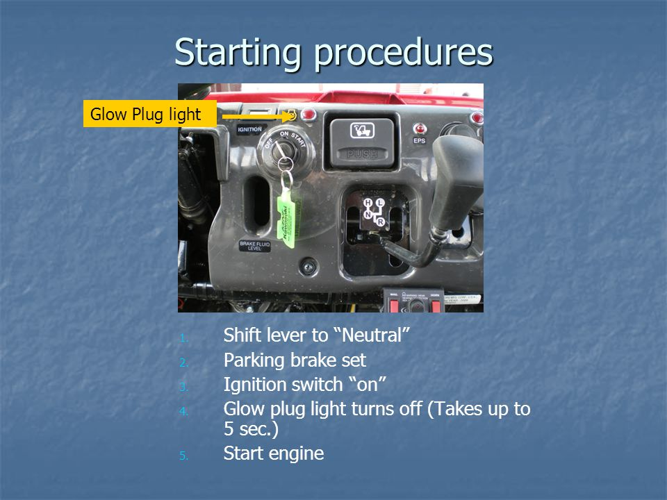 Starting procedures 1. 1. Shift lever to Neutral 2. 2. Parking brake set 3. 3. Ignition switch on 4. 4. Glow plug light turns off (Takes up to 5 sec.)