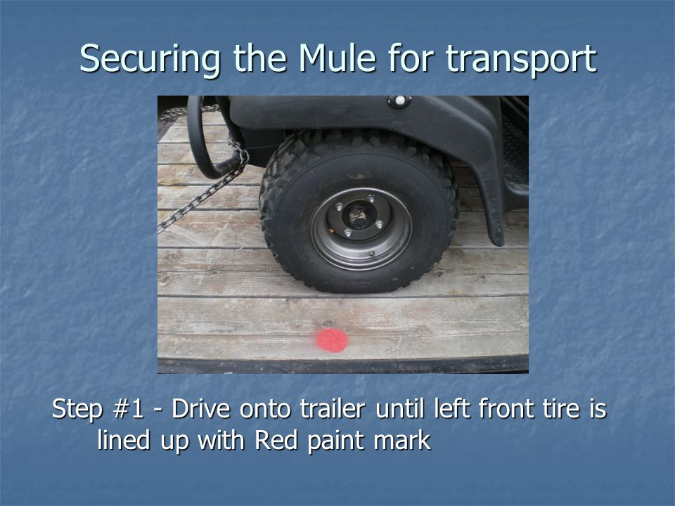 Step #1 - Drive onto trailer until left front tire is lined up with Red paint mark