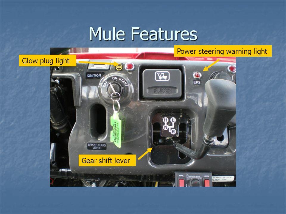 Mule Features Gear shift lever Power steering warning light Glow plug light