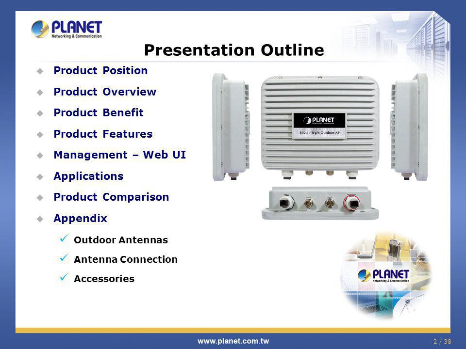 2 / 38 Product Position Product Overview Product Benefit Product Features Management – Web UI Applications Product Comparison Appendix Outdoor Antennas Antenna Connection Accessories Presentation Outline
