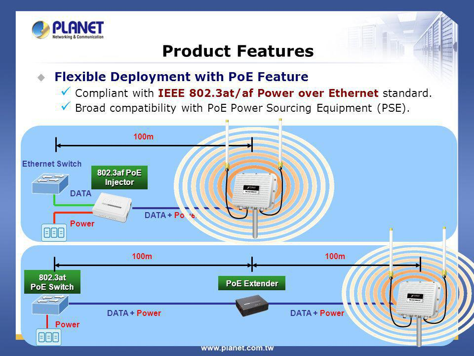 Product Features Flexible Deployment with PoE Feature Compliant with IEEE 802.3at/af Power over Ethernet standard.