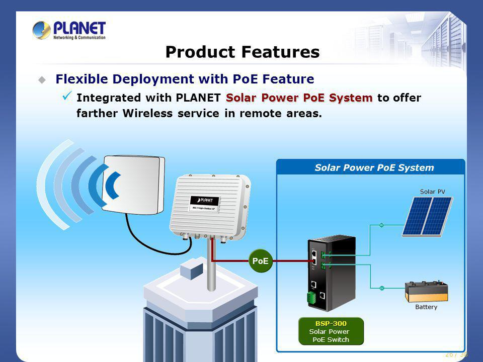 26 / 38 Product Features Flexible Deployment with PoE Feature Solar Power PoE System Integrated with PLANET Solar Power PoE System to offer farther Wireless service in remote areas.