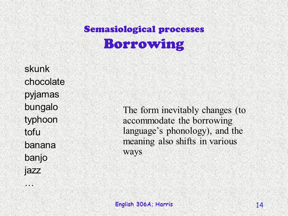 English 306A; Harris 13 Where words come from Semasiological processes borrowing combining morphological (tune in later) compounding acronyms/abbreviations blending reducing clipping acronyms/abbreviations blending (converting)