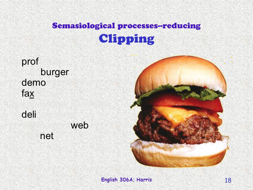 English 306A; Harris 17 Semasiological processes--reducing Clipping professor hamburger demonstration facsimile submarine sandwich delicatessan world wide web internet