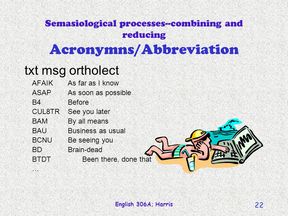 English 306A; Harris 21 Semasiological processes--combining and reducing Acronymns/Abbreviation Jargons, Argots, Slangs Similar to clipping Efficiency