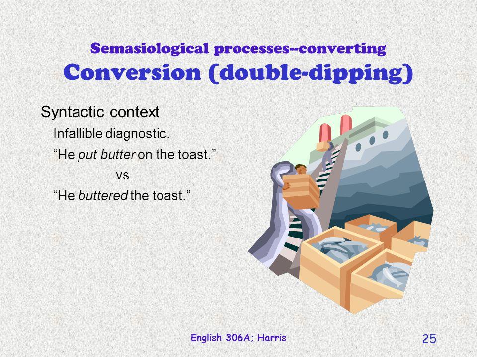 English 306A; Harris 24 Semasiological processes--converting Conversion (double-dipping) permít contést survéy butter ship toast nail pérmit cóntest súrvey dirty empty clean paint