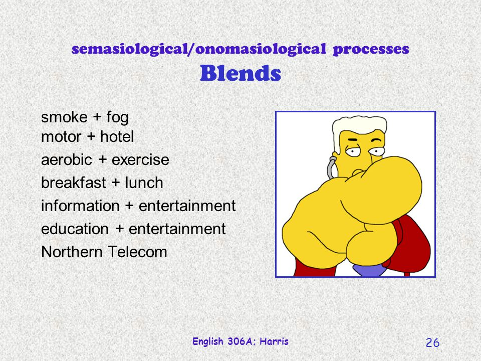 English 306A; Harris 25 Semasiological processes--converting Conversion (double-dipping) Syntactic context Infallible diagnostic. He put butter on the
