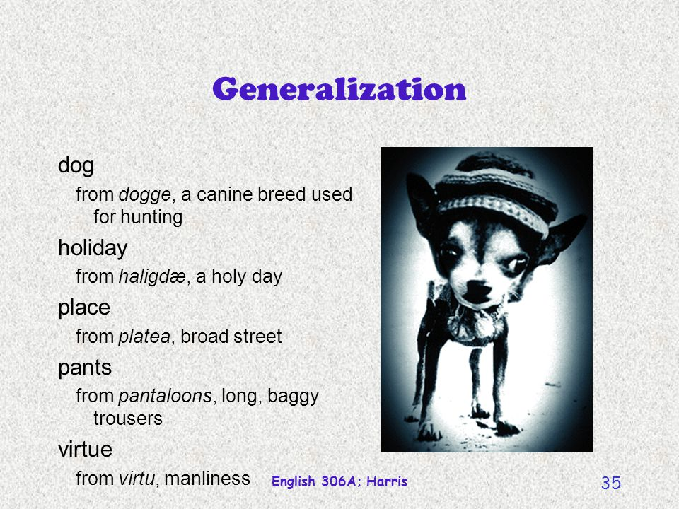English 306A; Harris 34 Generalization Broadening of signified ship (send by boat send by any means of transport) school (learning institution an intellectual or creative group)
