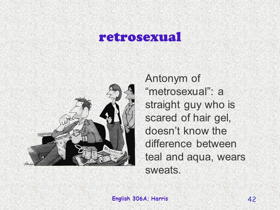 English 306A; Harris 41 metrosexual A straight man with the good taste of a gay: scrupulous about his grooming; big consumer of cosmetic products and high fashion suits.