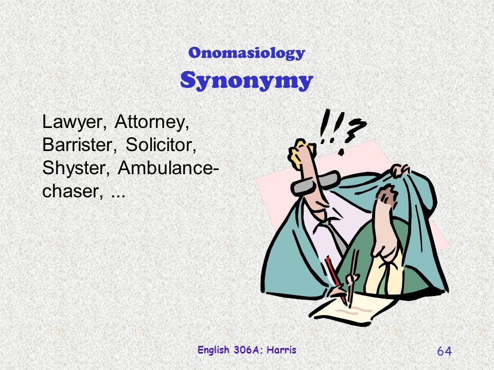 English 306A; Harris 63 Signifier Semasiology Concept evoked synonymy antonymy Word form polysemy homophony dog yappy, hairy quaduped Signified Onomas