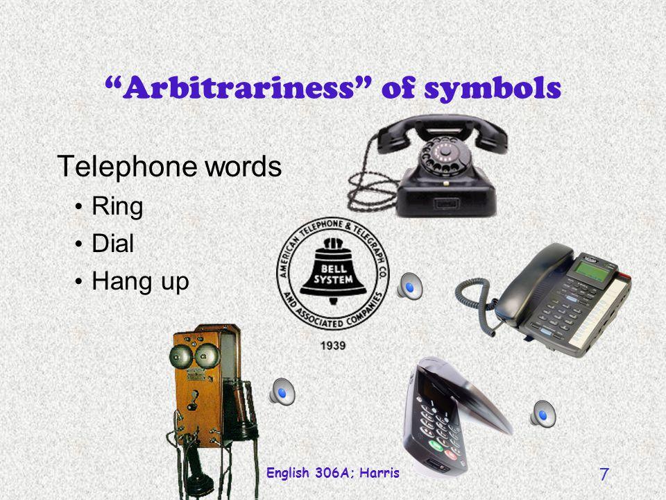 English 306A; Harris 6 Arbitrariness of symbols