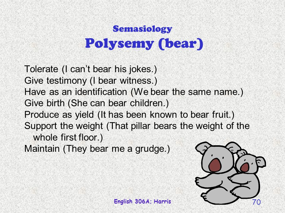English 306A; Harris 69 Semasiology Homophony (bear/bare/bear) Two (or more) words (therefore, two or more meanings) that happen to sound the same; a product of coincidence.
