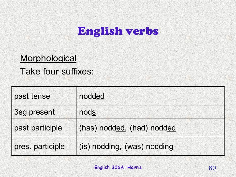 English 306A; Harris 79 English verbs Semantic An action or state. nod talk listen feel jump run hit manipulate … know agree hear feel believe doubt r
