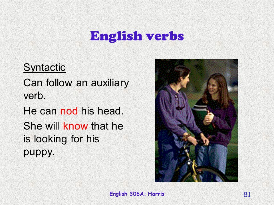 English 306A; Harris 80 English verbs Morphological Take four suffixes: past tensenodded 3sg presentnods past participle(has) nodded, (had) nodded pres.