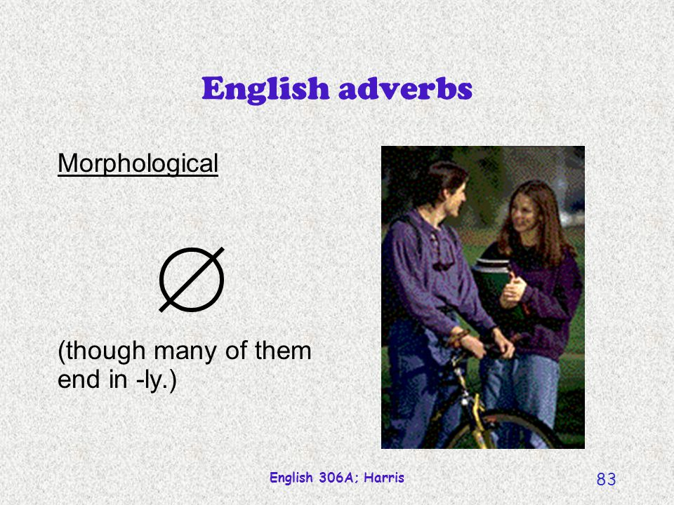 English 306A; Harris 82 English adverbs Semantic Modifies (in manner, time or location) an action or state.