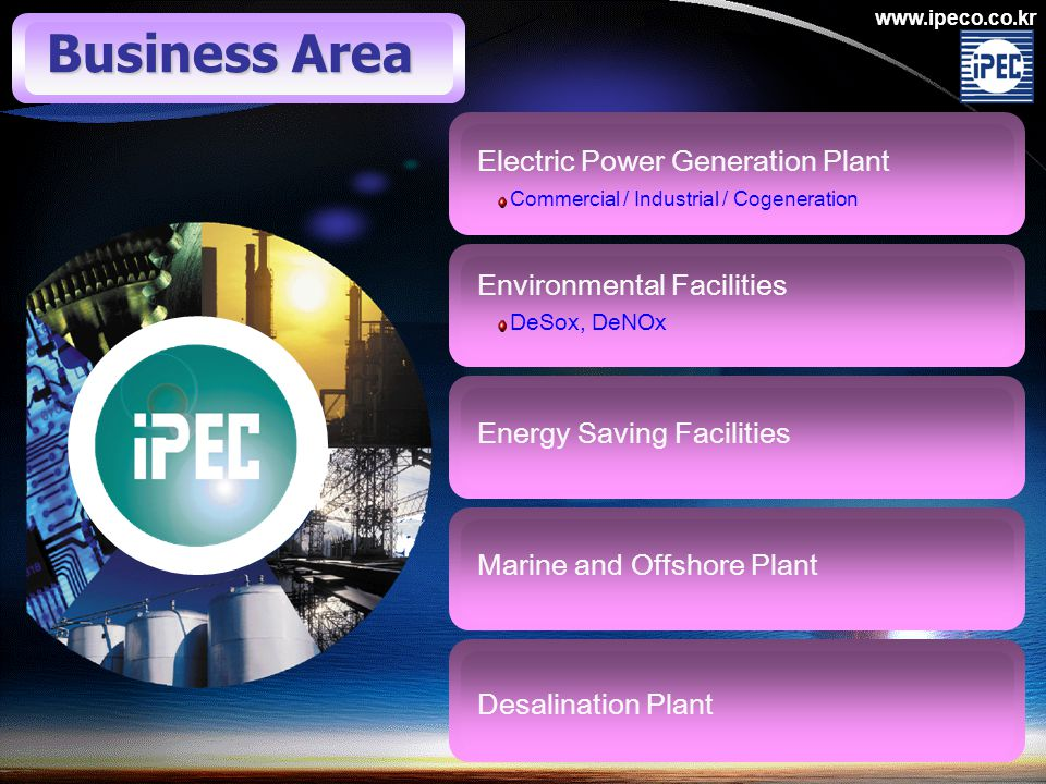 www.ipeco.co.kr Electric Power Generation Plant Commercial / Industrial / Cogeneration Environmental Facilities DeSox, DeNOx Energy Saving Facilities