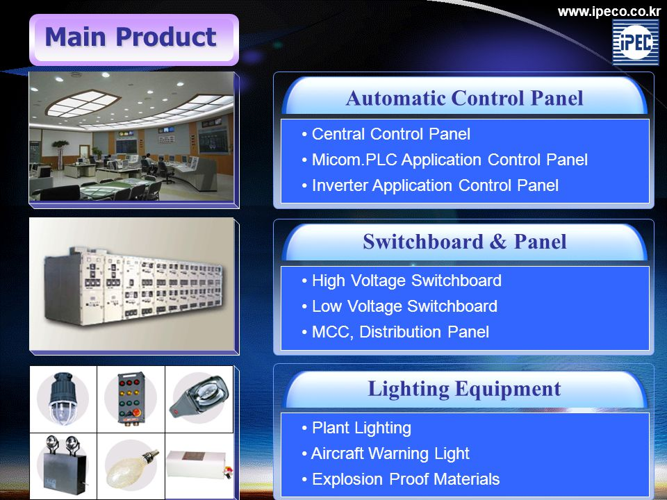 www.ipeco.co.kr Automatic Control Panel Switchboard & Panel Lighting Equipment Central Control Panel Micom.PLC Application Control Panel Inverter Application Control Panel High Voltage Switchboard Low Voltage Switchboard MCC, Distribution Panel Plant Lighting Aircraft Warning Light Explosion Proof Materials Main Product