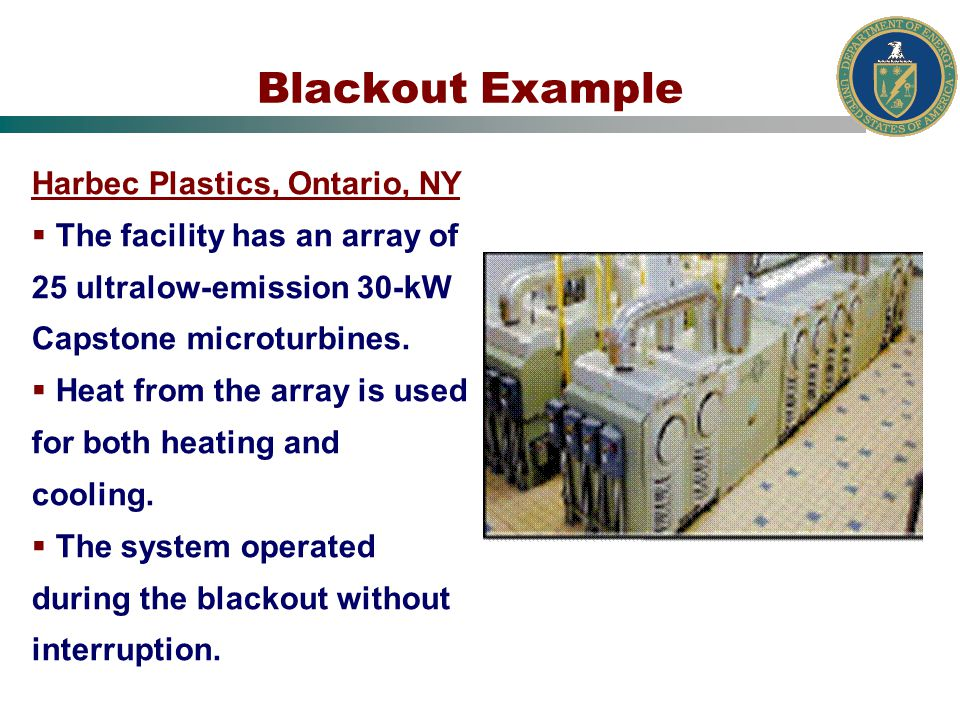 Blackout Example Harbec Plastics, Ontario, NY The facility has an array of 25 ultralow-emission 30-kW Capstone microturbines.