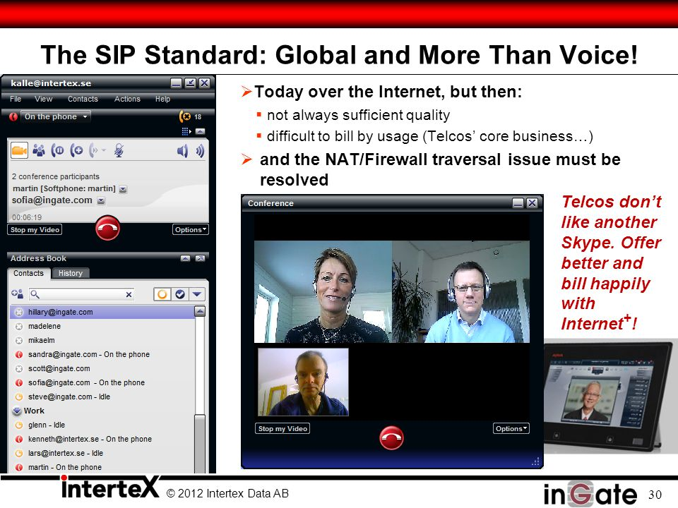 © 2012 Intertex Data AB 30 The SIP Standard: Global and More Than Voice! Today over the Internet, but then: not always sufficient quality difficult to